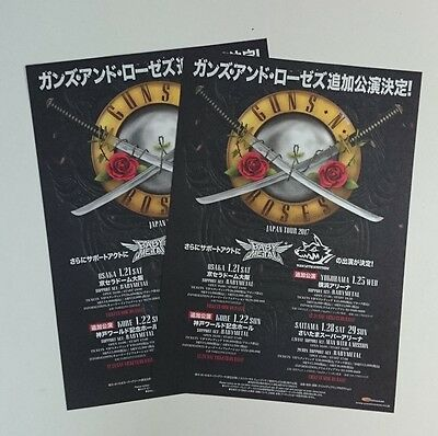 Guns N' Roses Japan Tour 2017 flyer CONCERT Mini Poster ×2