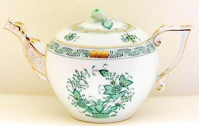 Herend Indian Basket Green Miniatur Teapot,rose Lid End,brand New Boxed