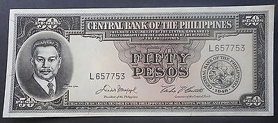 Philippines 1949  50  Peso  note UNC P138  Crisp White Flat  !!!!