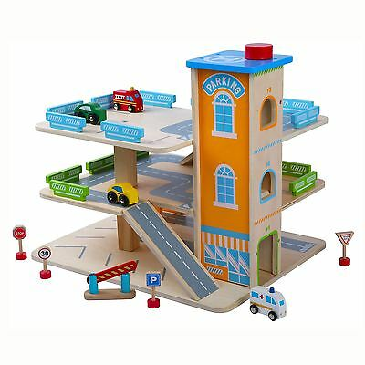 Wooden Car Park Garage With Lift Fun Toy Cars New Boxed