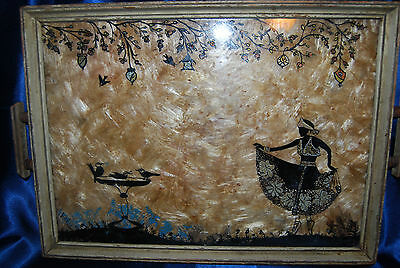 Vintage Reverse Painting on Glass Wooden Tray - Ballerina Dancing Outisde