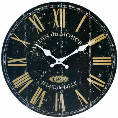 "New Jardin Wall Clock Hanging 34Cm 13.4"" Black And Cream Weathered Cl_76111"