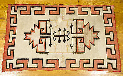 """Navajo Arrows Two Hills Red Antique Handwoven Rug Carpet  1910/20s 34"""" x 55"""""""