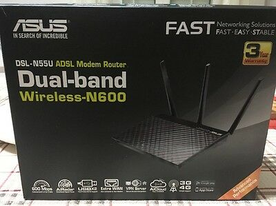 Asus  DSL-N55U Modem Router Dual Band Wireless N 600