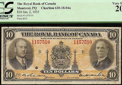 1935 $10 Dollar Bill Royal Bank Of Canada Currency Note Paper Money Pcgs Vf