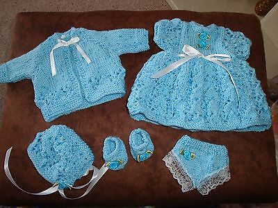 """Hand Knitted Dress Cardigan Hat Panties and Bootees for 12 / 14""""  Doll"""