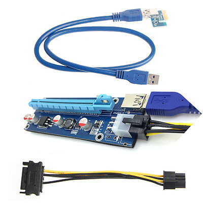 DE USB PCI-E Express 1x To 16x Extender Riser Kart Adapter SATA 6Pin Power Kable