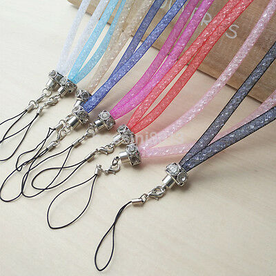 Crystal Lanyard Necklace ID Badge Keychain Holder Neck Strap for Mobile Phone