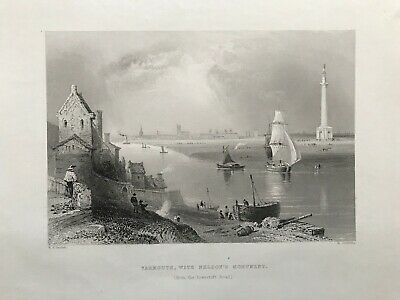 1841 Antique Print; Yarmouth with Nelson's Monument, Norfolk after Bartlett