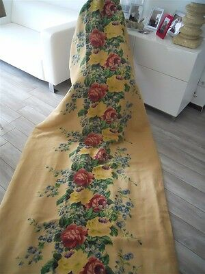 French Antique Curtain Panel Portiere  Canopy Drape Cotton Linen Fabric Tapestry