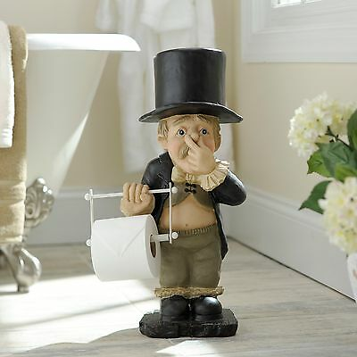 Toilet Paper Holder Funny Novelty Cute Silly Stinky Butler Bath Wash Room Decor
