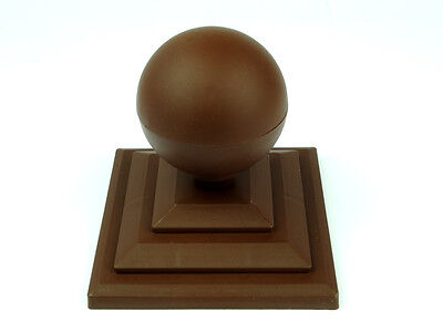 "Linic 6 x Brown Round Sphere Fence Top Finial + 3"" Fence Post Cap UK Made GT0028"