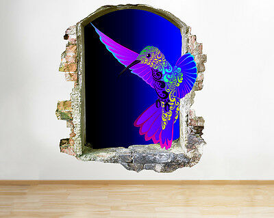 R510 Colourful Hummingbird Bedroom Smashed Wall Decal 3D Art Stickers Vinyl Room