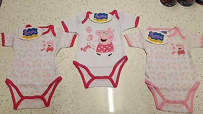 Official Peppa Pig And George Baby Grow Vest 3 Pack