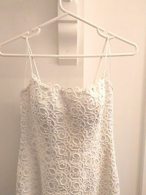 Stephanie Marie Couture Satin White Lace Wedding Dress Size10
