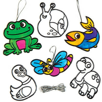 Pond Animal Suncatcher Decoration Kit for Children - Spring Kids Crafts (8 Pcs)