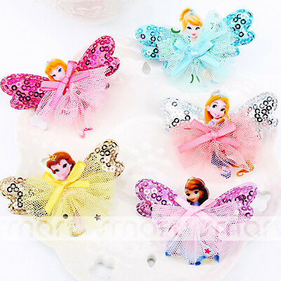 1PCS Mixed Color Cartoon Princess Design Hair Clip Accessories For Girls Babies