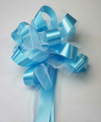 Tulle Grand Noeud automatique turquoise x5