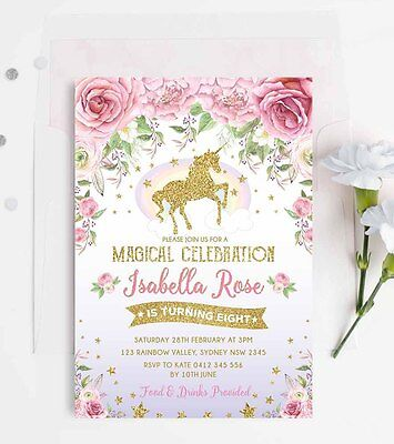Unicorn Invitation Rainbow Pink Gold Birthday Party Invite Glitter Floral Roses