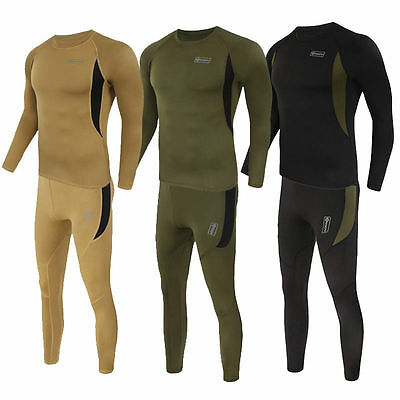 Hot Mens Thermal Fleece Lining Base Layer Long Sleeve T-shirt Tights Pants Suit