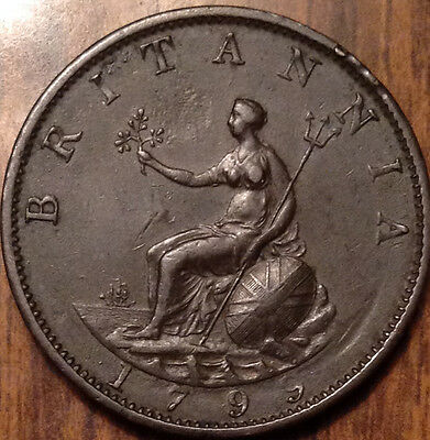 1799 Uk Gb Great Britain Halfpenny In Magnificent High Grade !