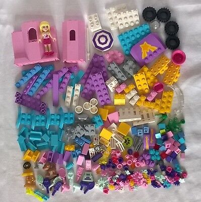 Lego Friends mixed lot of 295 pieces - Minifigure, Dog, Parasol, Wheels, Bows,
