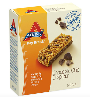 4 X Atkins Day Break Choc Chip 5Pk (20 Total) Free Delivery