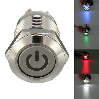 Sliver 4 Pin 12mm Led Metal Push Button Momentary Power Switch Waterproof 12v