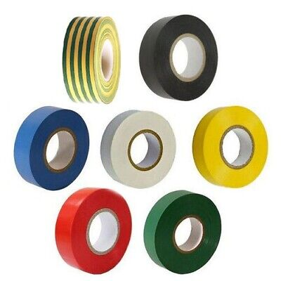 20 Metre Rolls Electricians Pvc Insulating Insulation Tape 7 Various Colours