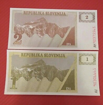 Slovenia 2 different banknotes 1992 UNC