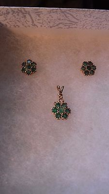 9ct Gold Emerald Pendant and Earrings set