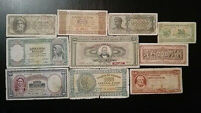 Greece 10 different banknotes 1940s