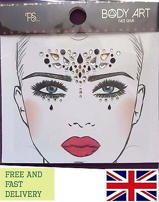 Festival Party Crystals Face Gems Body Art Jewels Black Gold Silver