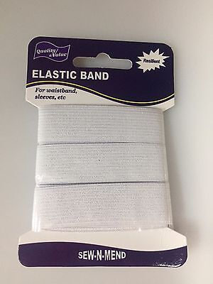 Elastic White Sewing Band 1 X 20 Mm Wide, X 1500 Mm Length, Free Post