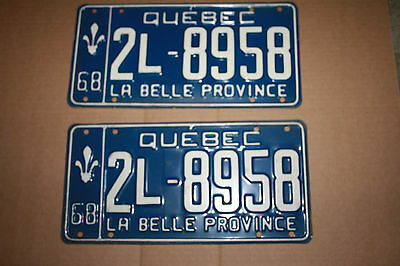 1968 Quebec Car Plates Front And Rear