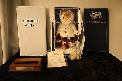 "1997 Precious Moments Wood Hand Carved Doll ""Gertrude"" #982/1000 RARE Musical"