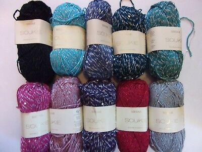 10 x 50g Sirdar Soukie D/K Sequin Wool/Yarn for Knitting/Crochet