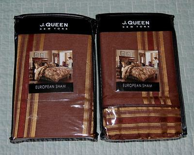 2 NEW J. Queen New York Coventry Brown / Gold Stripe EURO Pillow Shams