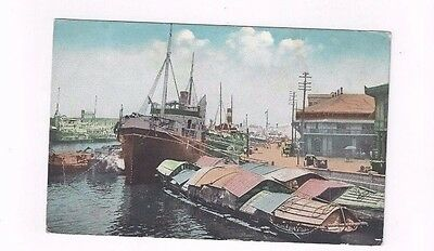 PHILIPPINES antique db post card Lower Pasig River & Inter-Island Boats