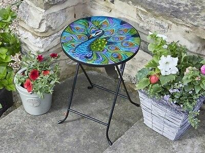 Smart Solar Peacock Outdoor Side Folding Table