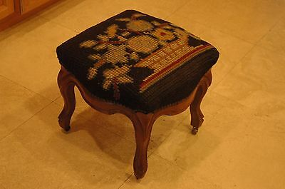 Carved Solid Walnut Ottoman Foot Stool RARE Needlepoint Cabriole Legs