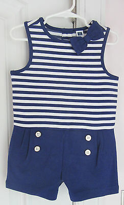 NWT Janie and Jack Girls Enchanted Valley Navy Striped Ponte Romper Sz 3 4 5 6