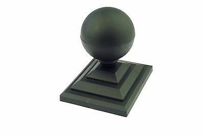 """4 x Black Sphere Round Top Fence Finial & 4"""" x 3"""" Fence Post Caps Cap GT0060"""