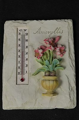 Outdoor Indoor Thermometer Wall Hanging Stone Plaque Decorated with Flowers