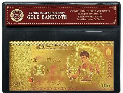 Bruce Lee Gold Plated Banknote China Commemorative Anniversary Tribute (2)