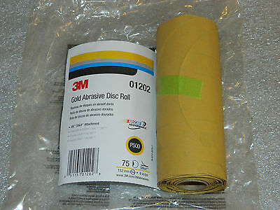 """1 New 75 Disc Roll Of 3M 01202 Stikit Gold Abrasive Disc 6"""" Inch Roll P500 Grit"""