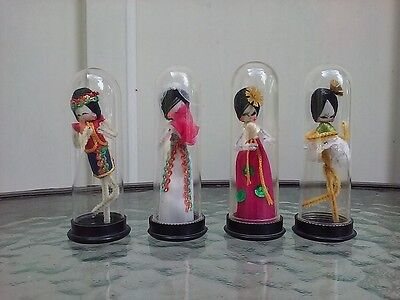 Asian Pipe Cleaner Doll Encapsulated Display Set Of Four Vintage 1950s Hong Kong