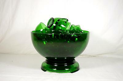 Vintage Anchor Hocking Forest Green Glass Punch Bowl With Base Stand & 16 Cups