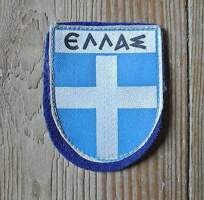 Vintage Hellas Cross Greek Greece Patch Felt Backing Football Blue and White