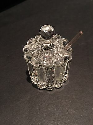 Heisey Glass Crystolite go with nut salt dish with lid spoon